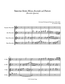 Missa Ascendo ad Patrem: Sanctus, for recorder quartet by Giovanni da Palestrina