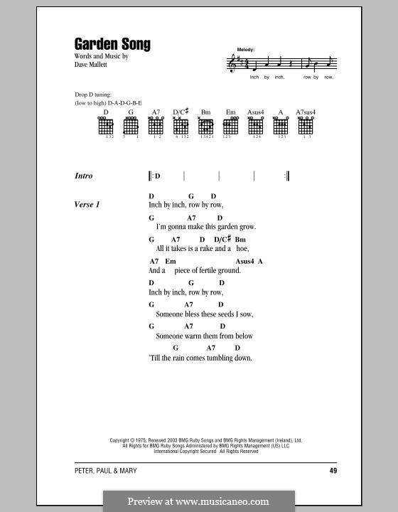 Garden Song by D. Mallet - sheet music on MusicaNeo
