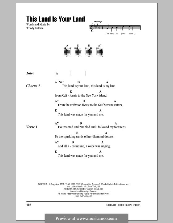 This Land Is Your Land (The New Christy Minstrels): Lyrics and chords by Woody Guthrie