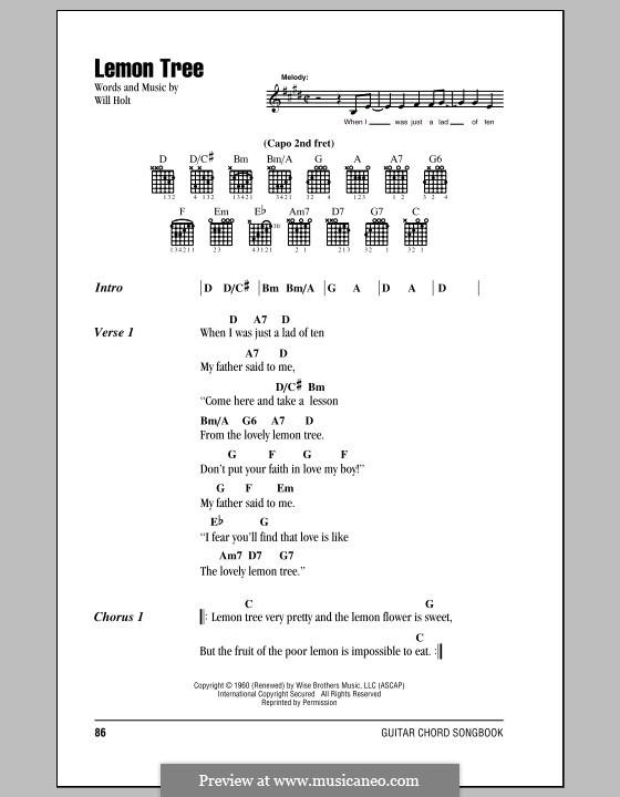 Lemon Tree: Lyrics and chords by Will Holt