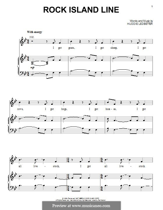 Rock Island Line: For voice and piano (or guitar) by Huddie Ledbetter