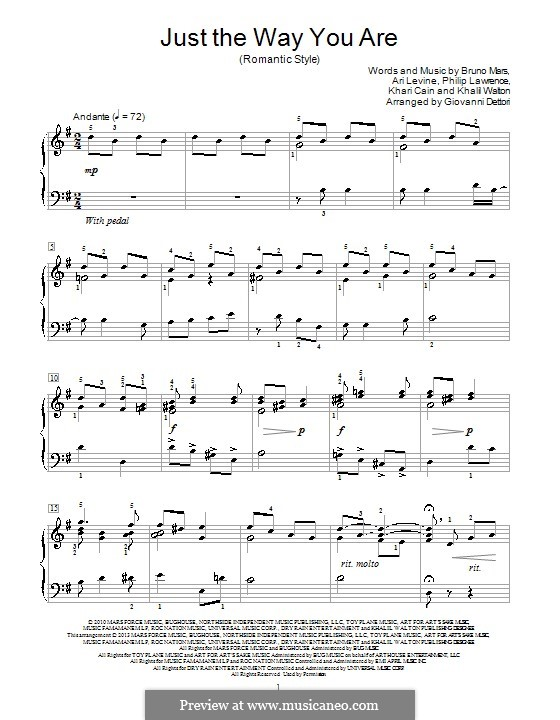 Just the Way You are: For piano by Ari Levine, Khalil Walton, Khari Cain, Bruno Mars, Philip Lawrence