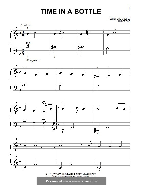 Time in a Bottle: For easy piano by Jim Croce
