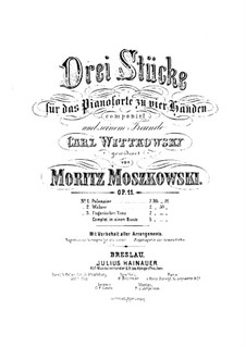 Three Pieces for Piano Four Hands, Op.11: Parts by Moritz Moszkowski