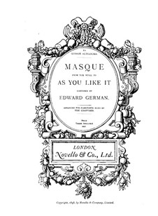 Music to Comedy 'As You Like It'. Masque: For piano four hands by Edward German