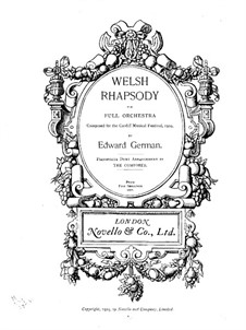 Welsh Rhapsody: For piano four hands by Edward German