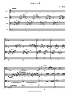 Fantasia for Piano No.3 in D Minor, K.397: Version for string quartet – parts by Wolfgang Amadeus Mozart