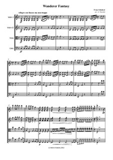 Fantasia for Piano in C Major 'Wanderer', D.760 Op.15: For string quartet – parts by Franz Schubert