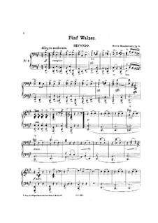 Five Waltzes, Op.8: For piano four hands by Moritz Moszkowski