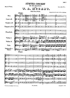 Concerto for Piano and Orchestra No.5 in D Major, K.175: Full score by Wolfgang Amadeus Mozart