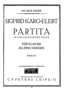 Partita in G Minor for Piano, Op.113: For a single performer by Sigfrid Karg-Elert