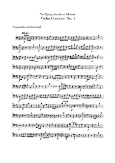 Concerto for Violin and Orchestra No.4 in D Major, K.218: Cello and double bass part by Wolfgang Amadeus Mozart