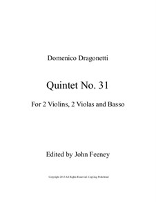 Quintet No.31 in D Major, for Two Violins, Two Violas and Basso: Full score by Domenico Dragonetti