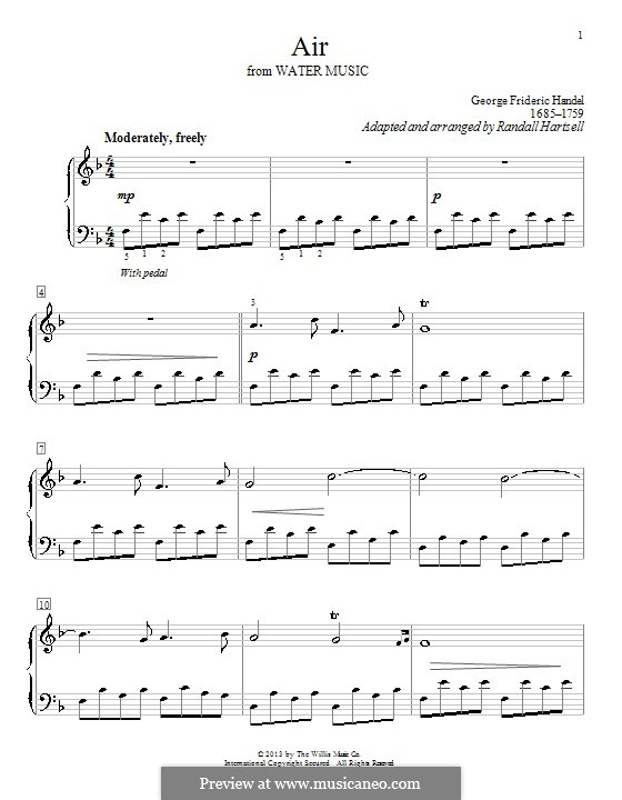 Suite No.1 in F Major, HWV 348: Aria, for easy piano by Georg Friedrich Händel