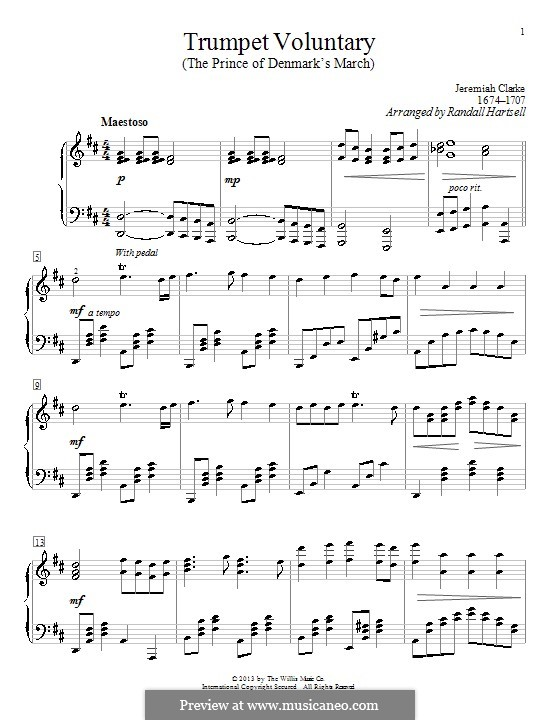 Prince of Denmark's March (Trumpet Voluntary), printable scores: For piano by Jeremiah Clarke