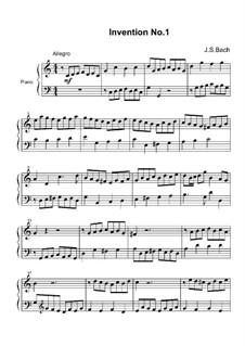 No.1 in C Major, BWV 772: For piano by Johann Sebastian Bach