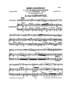 Seven Variations on 'Bei Männern welche Liebe fühlen' by Mozart, WoO 46: Score by Ludwig van Beethoven