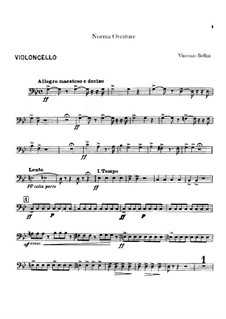 Overture: Cello part by Vincenzo Bellini