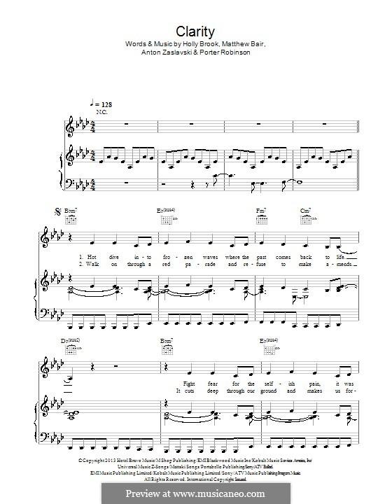 Clarity (Zedd): For voice and piano (or guitar) by Holly Brook Hafermann, Anton Zaslavski, Matthew Bair, Porter Robinson