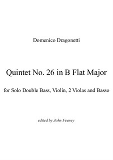 Quintet No.26 in B Flat Major: Full score by Domenico Dragonetti