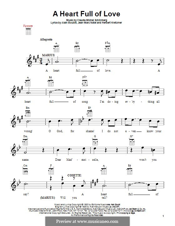 A Heart Full of Love: For ukulele by Claude-Michel Schönberg