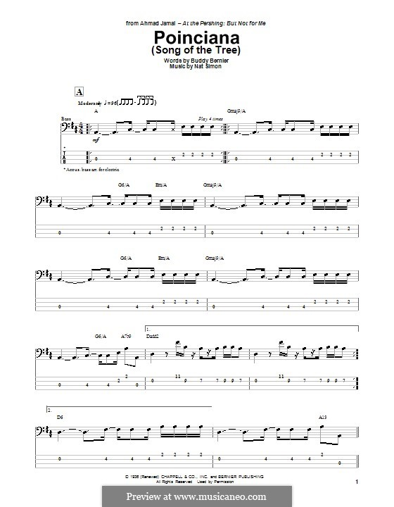 Poinciana (Song of the Tree): For bass guitar by Nat Simon