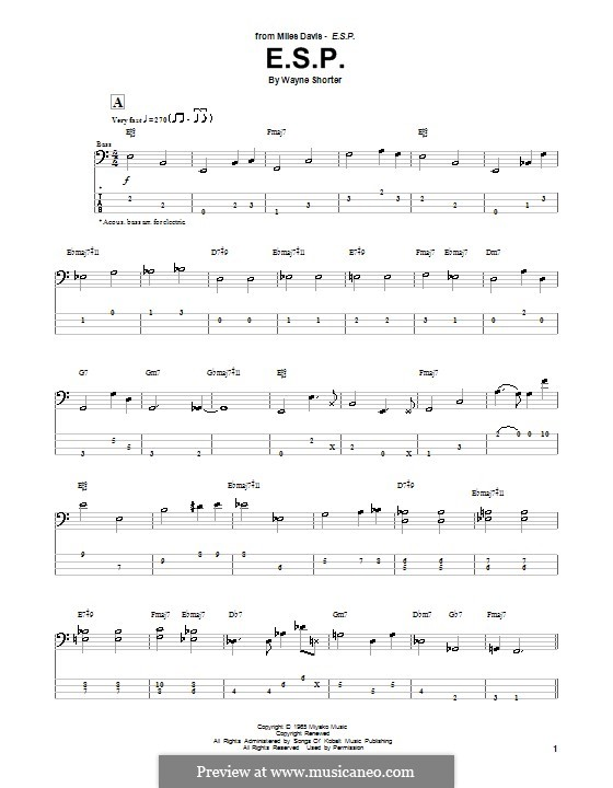 E.S.P.: For bass guitar with tab by Wayne Shorter