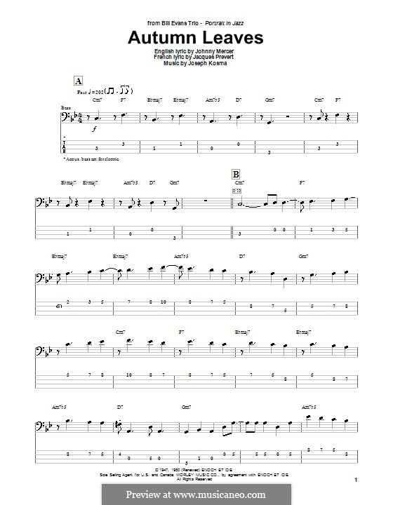 Autumn Leaves (Les Feuilles Mortes): For bass guitar with tab by Joseph Kosma