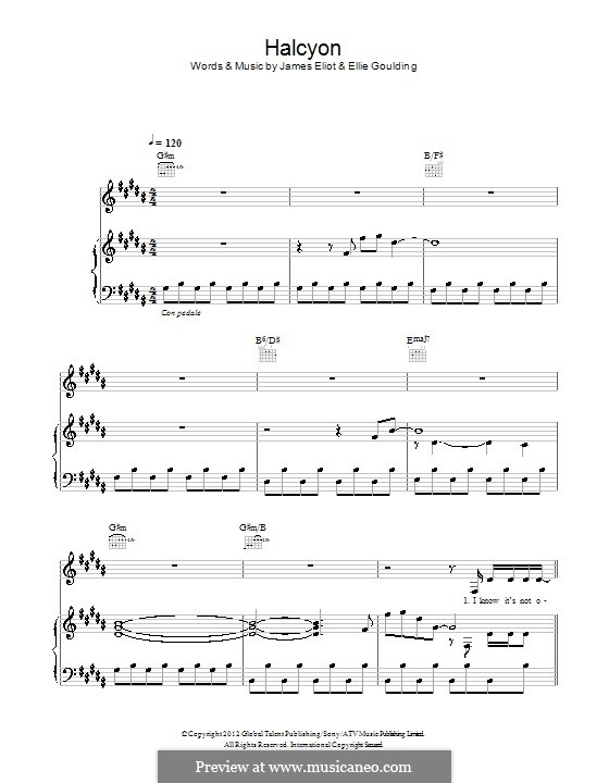 Halcyon: For voice and piano (or guitar) by Ellie Goulding, James Eliot