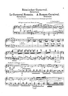 Le Carnaval Romain. Overture, H.95 Op.9: Arrangement for piano by Hector Berlioz