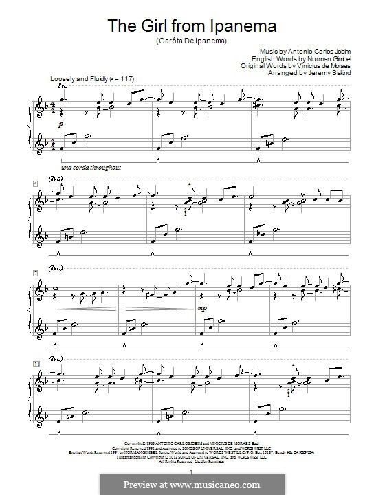 The Girl from Ipanema (Garota de Ipanema), for Piano: Very easy version by Antonio Carlos Jobim