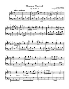 Six Musical Moments, D.780 Op.94: Musical moment No.3, for easy piano by Franz Schubert