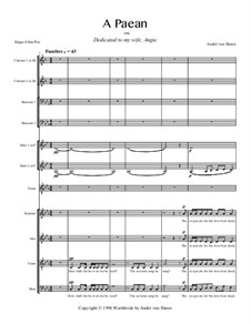 A Paean for tenor, mixed choir, two clarinets, two bassoons and two horns: A Paean for tenor, mixed choir, two clarinets, two bassoons and two horns by André van Haren