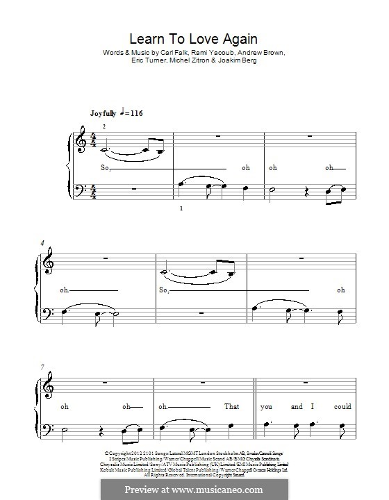 Learn to Love Again (Lawson): For piano by Andrew Brown, Carl Falk, Eric Turner, Michel Zitron, Joakim Berg