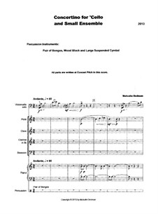 Concertino for Cello and Small Ensemble, MME33: Concertino for Cello and Small Ensemble by Malcolm Dedman