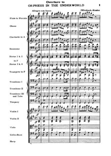 Orphée aux Enfers (Orpheus in the Underworld). Overture to Opera by J. Offenbach: Full score by Carl Binder