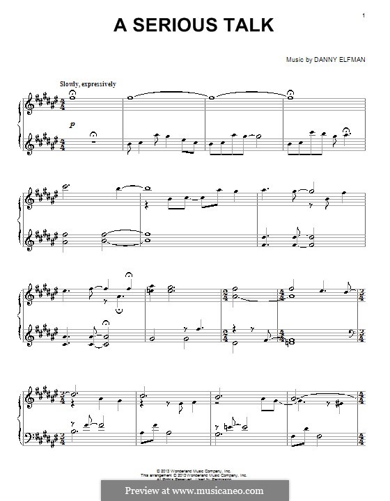 A Serious Talk: For piano by Danny Elfman