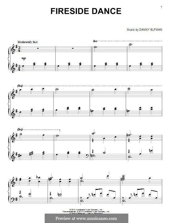 Fireside Dance: For piano by Danny Elfman