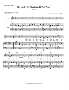 The Lord's My Shepherd, I'll Not Want: Piano-vocal score (with chords) by William Gardiner