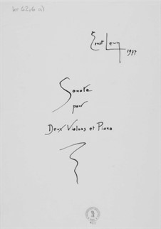 Sonata for Two Violins and Piano: Full score by Ernst Levy