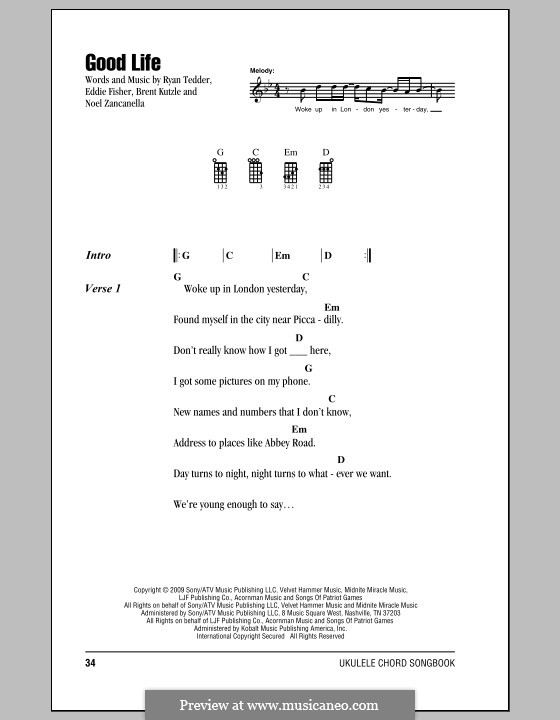 Good Life (OneRepublic): For ukulele by Brent Kutzle, Eddie Fisher, Noel Zancanella, Ryan B Tedder