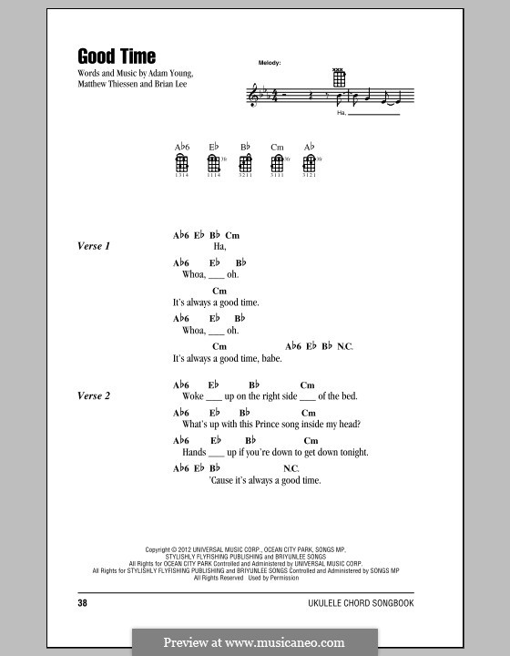 Good Time (Owl City): For ukulele by Adam Young, Brian Lee, Matt Thiessen