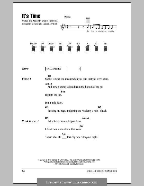 It's Time (Imagine Dragons): For ukulele by Benjamin McKee, Daniel Reynolds, Daniel Sermon