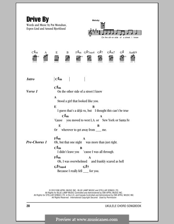 Drive By (Train): For ukulele by Amund Bjorklund, Espen Lind, Patrick Monahan
