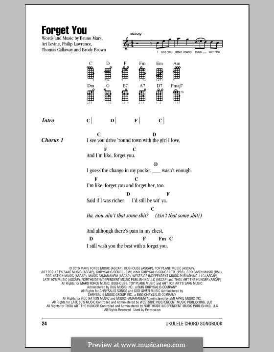 F**k You (Forget You): For ukulele by Ari Levine, Christopher Brown, Bruno Mars, Philip Lawrence, Thomas Callaway