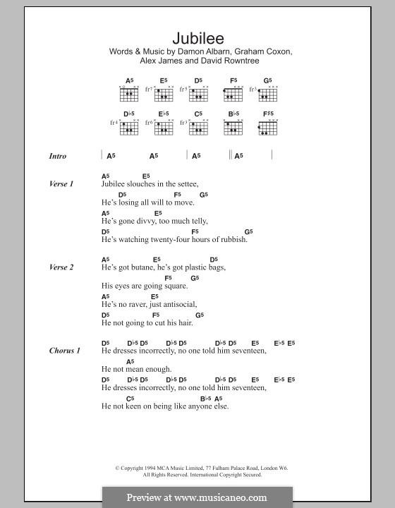 Jubilee (Blur): Lyrics and chords by Alex James, Damon Albarn, David Rowntree, Graham Coxon