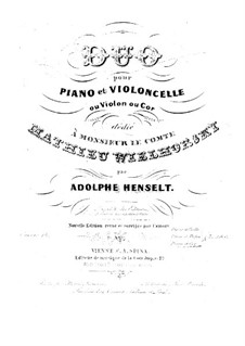 Duo for Cello and Piano, Op.14: Duo for Cello and Piano by Adolf von Henselt