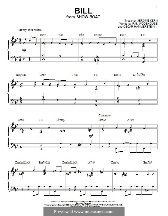 Bill: For piano by Jerome Kern