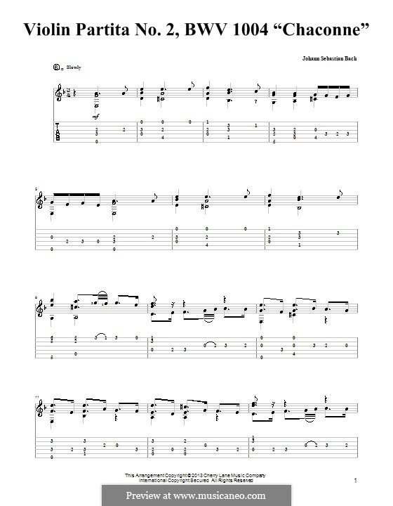 Partita for Violin No.2 in D Minor, BWV 1004: Chaconne. Version for guitar with tab by Johann Sebastian Bach