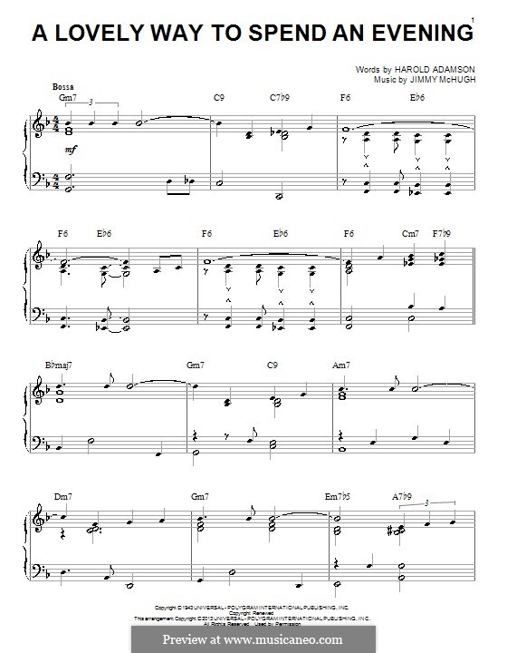 A Lovely Way to Spend an Evening (Frank Sinatra): For piano by Jimmy McHugh